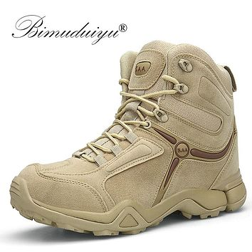 BIMUDUIYU Men Quality Brand Military Boots Tactical Desert Combat Boats Army Work Shoes Leather Antiskid Boots Men Sneakers