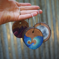 Ocean Waves mini painting Tree slice art Key-chain FREE SHIPPING!!!