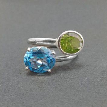 Sterling Silver Ring  silver ring artisan silver ring august birthstone ring peridot ring blue topaz ring