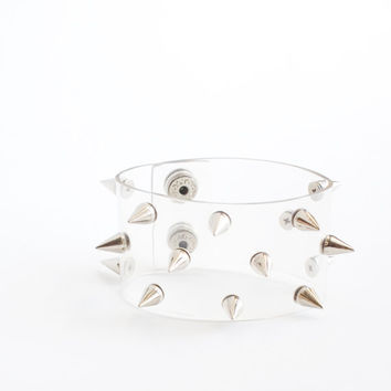 Spiked Cuff Clear Vinyl Studded Bracelet Retro 90s Rave