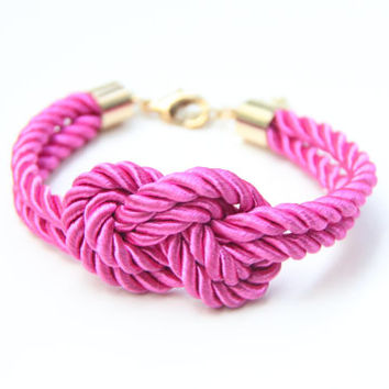 Arm candy - Hot pink Gold silk Knot Bracelet - 24k gold plated