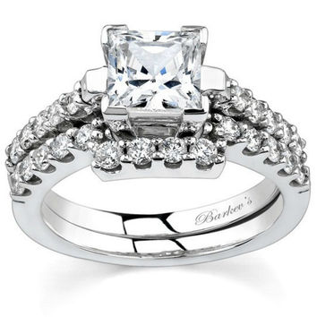 Barkev's Princess Cut Diamond Bridal Set with Round Cut Side Diamonds