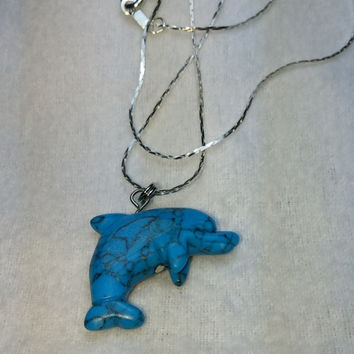 Blue Turquoise Dolphin on Silver Plated Chain Necklace