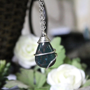 Bloodstone Necklace, Green Stone Pendant, Wiccan Jewelry, Indie Festival Fashion, Bohemian Chic Style, Hippie Boho Bridesmaid Gift for Her