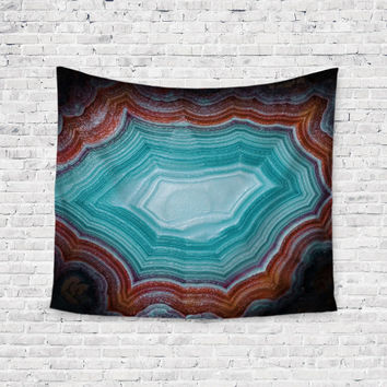 Teal Geode Agate Rock Art Trendy Boho Wall Art Home Decor Unique Dorm Room Wall Tapestry Artwork