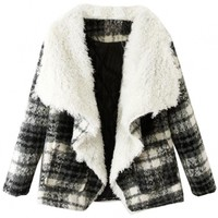 Classic Plaid Draped Collar Short Wool Coat - GLAMOURIZE.co
