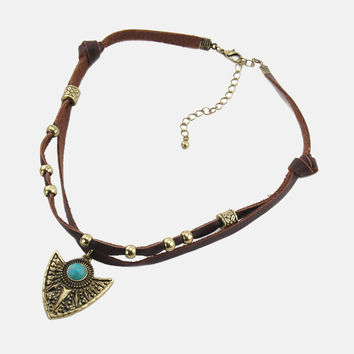 Arrowhead Knotted Leather Choker - Brown