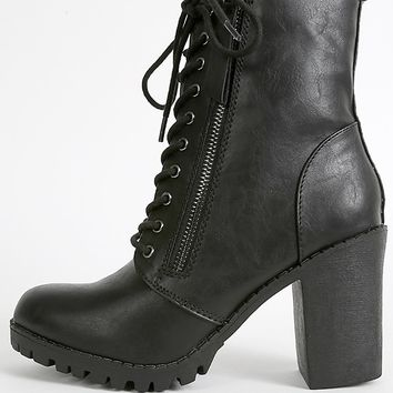 Soda Malia-s Lace Up Lug Sole Combat Boots | MakeMeChic.com