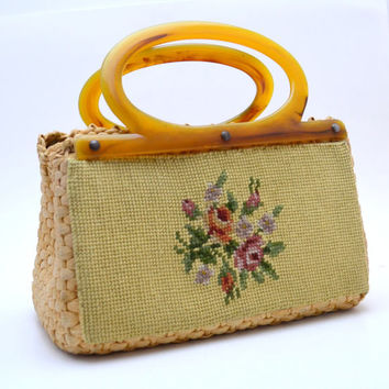 Vintage Straw Handbag with Needlepoint Panel, Natural Color, Butterscotch Plastic Handles, circa 1950s