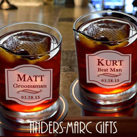 Personalize 7 to 12 Whiskey Bourbon Rocks Groomsmen Glasses * Best Man Wedding Favor * Wedding Party, Father, Glasses * Great Gift under 15