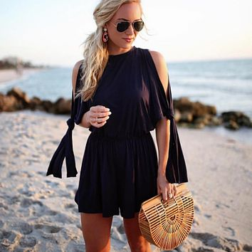 Solid Color Fashion Casual Back Hollow Strapless Middle Sleeve Knotted Romper Jumpsuit Shorts