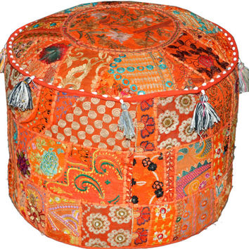 Orange Bohemian Vintage Patchwork Indian Pouf Large Round Ottoman Seat Stool Embroidered Pouffe round cotton stool chair bench foot stool