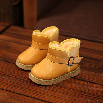 Winter for Child Kid Girl Boy Snow Boots Comfort Thick Antislip Short Boots Elastic Band Leather Cotton-padded Shoes