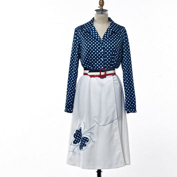 Vintage 70'S Dress Toby George Red White Blue Polka Dots and Butterfly size Medium