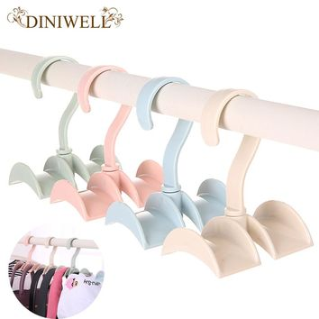 DINIWELL Rotated Storage Rack Bag Hanger Without Punch Clothes Plastic Rack Creative Tie Coat Closet Hanger Wardrobe Organizer