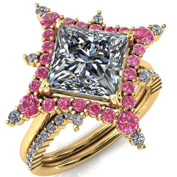 Thalim Princess/Square Moissanite 4-Point Star Pink Sapphire and Diamond Halo Ring ver. 2