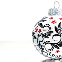 Black Red and White Christmas Ornament Hand Painted