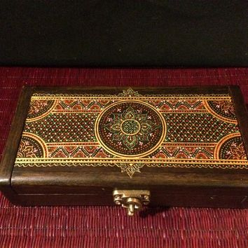 Mandala Jewelry Keepsake Box - Teak Wood - Handcrafted