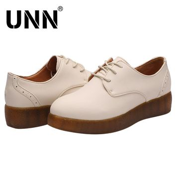 UNN Brand Casual Women Platform Shoes Woman Brogue Patent Leather Flats Lace Up Footwear Female  Oxford Spring Shoes For Women