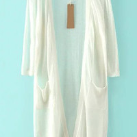 3/4 Sleeve With Pockets White Long Line Cardigan