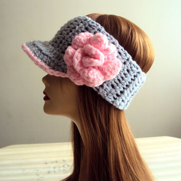 Pink Rose Headband Spring Summer Flower Head Band Crochet Visor Brimmed Head Band Earwarmer Women Hair Accessories Dreadlock Head Band