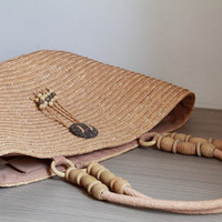 Large straw beach bag /Ladies Hand-woven Shopping Beach Basket Fully Lined Straw Bag / Satchel Bag Tote