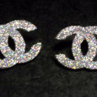Beautiful Diamond Dust Silver CC Chanel Inspired Post Stud Earrings