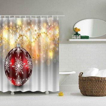 Bathroom Shiny Pearl Design Waterproof Shower Curtain