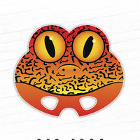 Animal Mask, Halloween Mask, Printable Mask, Frog Mask, Red Frog, Strawberry Poison Dart Frog, Photo Booth, Kids Costume, Costume, Red, Cute
