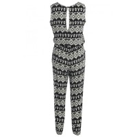 Black And Cream Aztec Print Jumpsuit