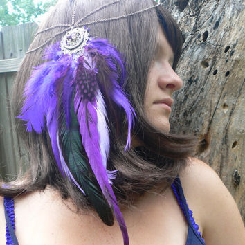 purple feather head chain turquoise amethyst dreamcatcher headdress halo head piece  tribal Native American boho gypsy hippie hipster style
