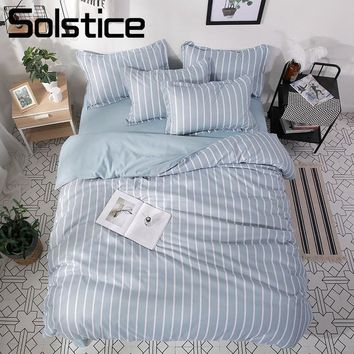 Cool Solstice Home Textile Light Blue Stripe Duvet Cover Pillowcase Sheet King Queen Twin Full Boy Teen Adult Girl Bedding Linens SetAT_93_12