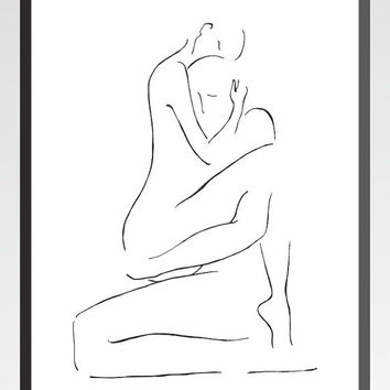 Art print. Erotic illustration for bedroom. Man and woman nude ink drawing. Love making, kamasutra, sex. 8x10 or A4.