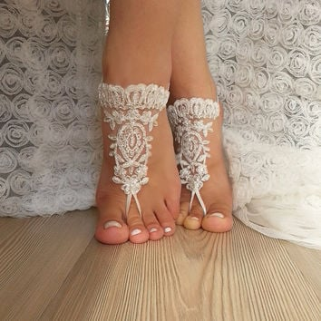 ivory  Barefoot  silver frame , french lace sandals, wedding anklet, Beach wedding barefoot sandals, embroidered  scaly  beaded  pearls sexy