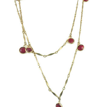 "Vintage Ruby Red Austrian Crystal Bezel 44"" Dangle Flapper Necklace, Vintage Red Bezel Swarovski Crystal Long Necklace, gift for her"
