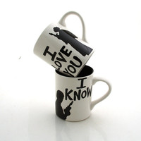 Star Wars (R) Han Solo and Leia I love you I know  Mug Set for Wedding or Anniversary, stoneware