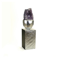 Abstract Art Sculpture - Propriety / Amethyst, Gift, Silver, Home Decor, Desk Decor, Sculpture, Semi Precious Stone