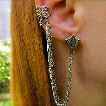 Sterling Ear Cuff With Chains Silver Ear Cuff Filigree Ear Cuff Gothic Earring Victorian Ear Cuff- Harley
