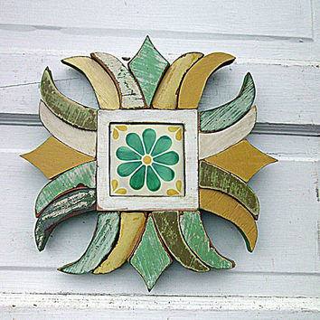 Framed Flower Tile, Mixed Media Art, Reclaimed Wood Mosaic, Mosaic Wood Art, Mosaic Talavera Tile, Rustic Wall Art