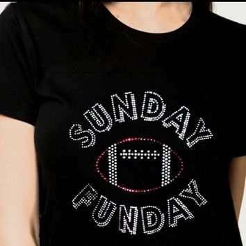Women's Football Sunday Funday Rhinestones Bling T-shirt