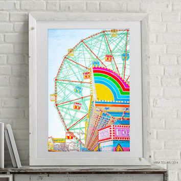 "Coney Island Art, Ferris Wheel Print, Carnival Photography, Coney Island Print - ""Thrills!"""