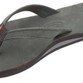 The Catalina Tapered Strap Premier Leather Sandal in Black by Rainbow Sandals