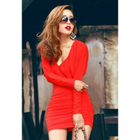 Red Long Sleeve Backless Ruched Dress