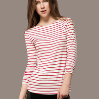 Red Striped Long Sleeve T-shirt