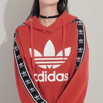 """Adidas""Fashion Print Hooded Pullover Tops Sweater Sweatshirts"