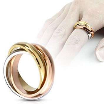 Tri-Roll Links Three Tone Band Fashion Women's Ring 316L Stainless Steel