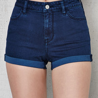PacSun Deep Sea Blue Super Stretch High Rise Denim Shorts at PacSun.com