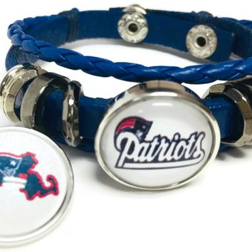 NFL Football Fan New England Patriots Blue Leather Bracelet W/ White Logo & Massachusetts 18MM - 20MM Snap Charms