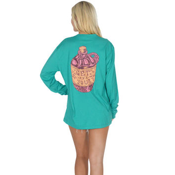 Get Your Shine On Long Sleeve Tee in Tropical Green by Lauren James