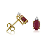 14K Yellow Gold Oval Genuine Ruby and Diamond Earrings   (1.20ct tgw)